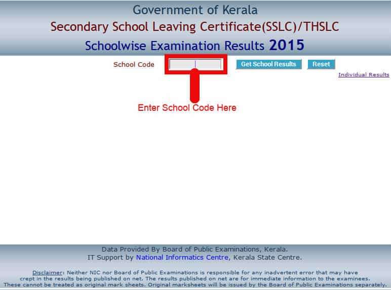 Kerala SSLC 2015 School Wise Results – keralaresults.nic.in