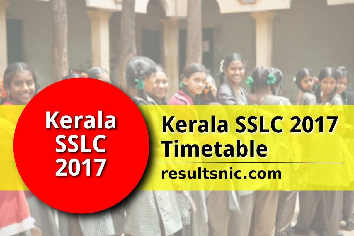 Kerala SSLC 2017 Timetable – keralapareekshabhavan.in