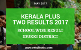 Kerala Plus Two Result 2017 School Wise Result Idukki District