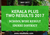 Kerala Plus Two Result 2017 – School wise Result – Idukki Distrct School Codes