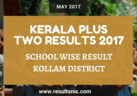 Kerala Plus Two Result 2017 School Wise Result Kollam District