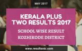 Kerala Plus Two Result 2017 School Wise Result Kozhikode District