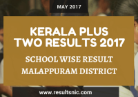 Kerala Plus Two Result 2017 School Wise Result Malappuram District Codes