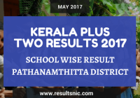 Kerala Plus Two Result 2017 School Wise Result Pathanamtitta District Codes
