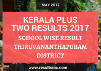 Kerala Plus Two Result 2017 School Wise Result Thiruvananthapuram District Codes