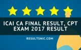 ICAI CA Final Result, CPT Exam 2017 Result