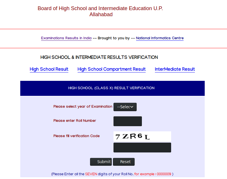 UP Board 10th Class result website