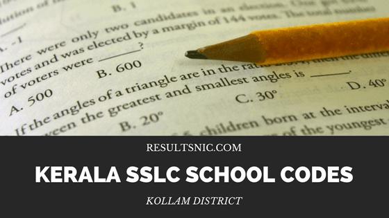 Kerala SSLC School Codes in Kollam District
