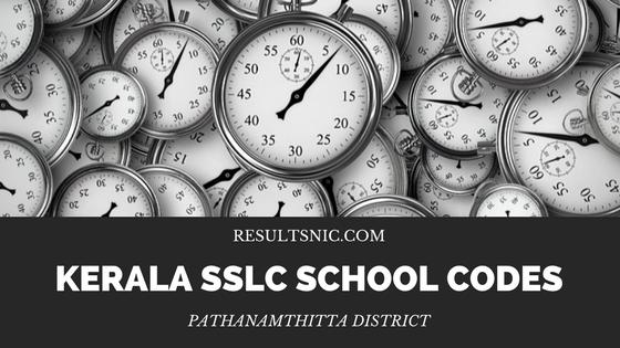 Kerala SSLC School Codes Pathanamthitta District