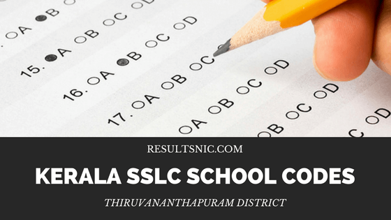 Kerala SSLC School Codes in Thiruvananthapuram District