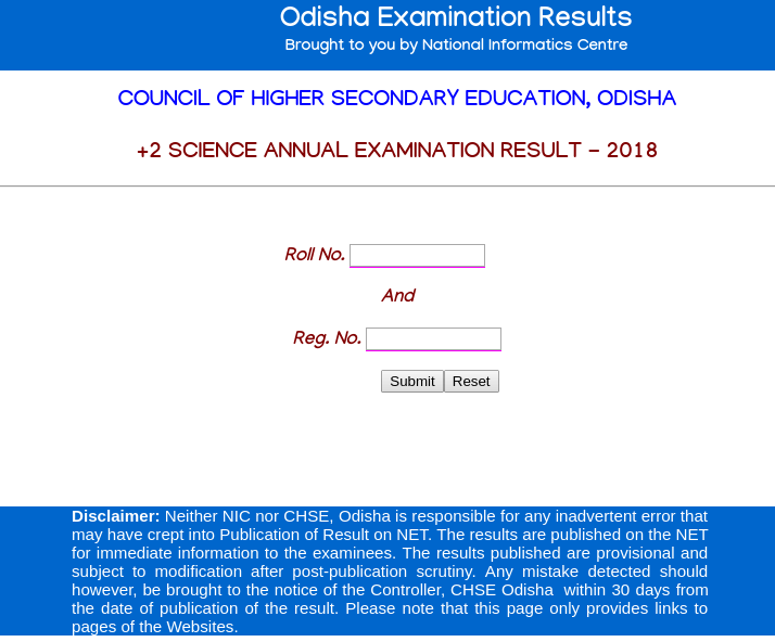 CHSE +2 Science Result 2018 Website